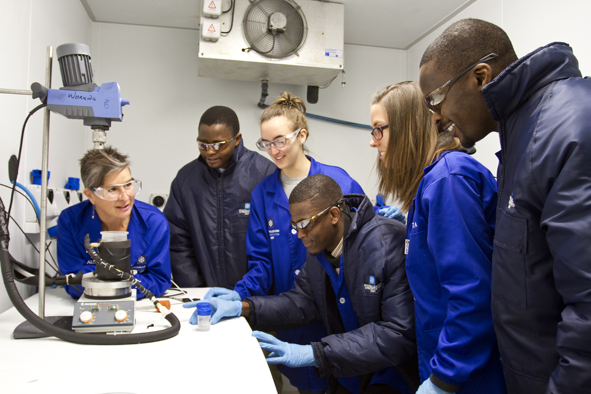 Professor Alison Lewis and CPU Team in the ice lab 2016